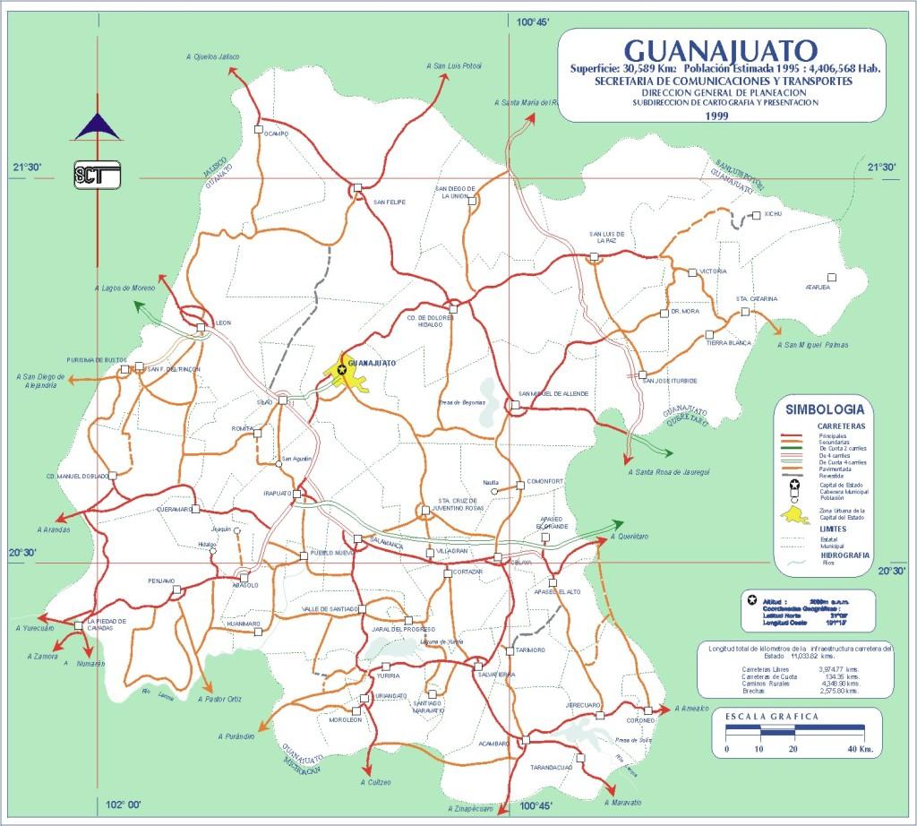 Mapa de carreteras del estado de Guanajuato