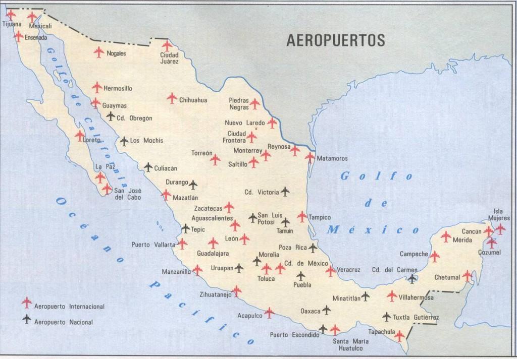 Mapa de los aeropuertos de México