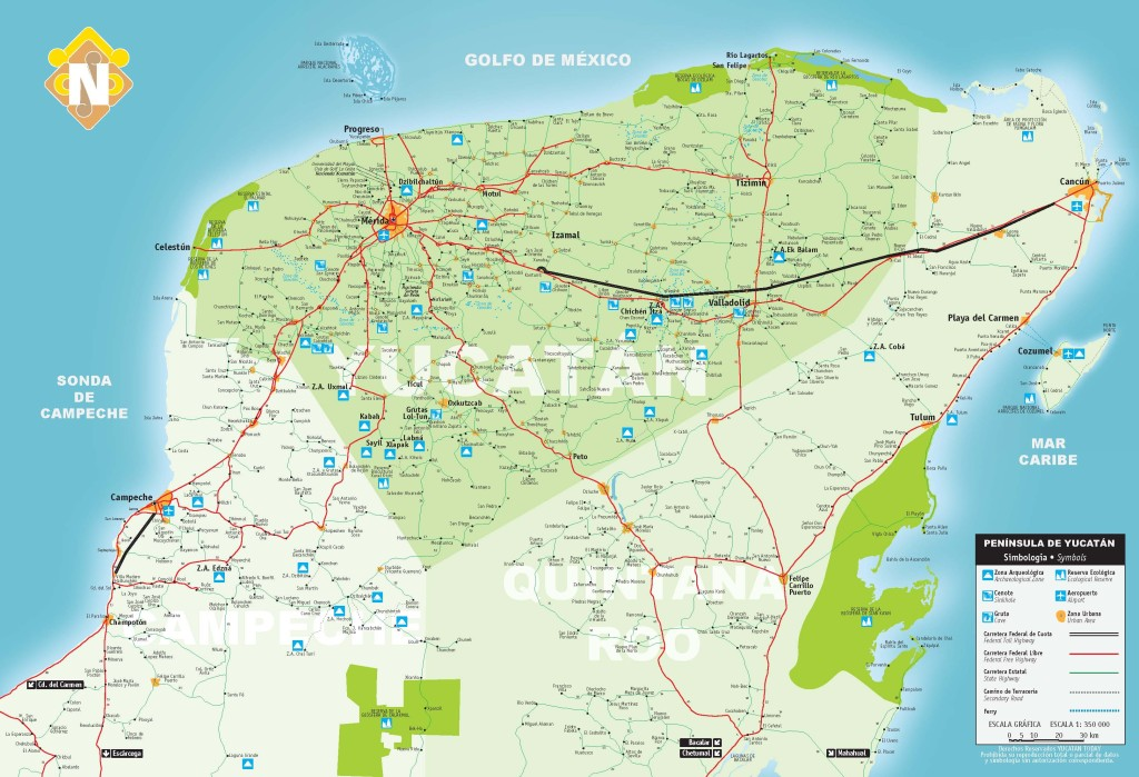 Mapa del Estado de Yucatán