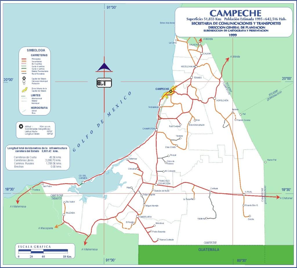 Mapa del estado de Campeche