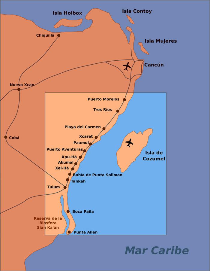 Mapa de la Riviera Maya en el caribe de México