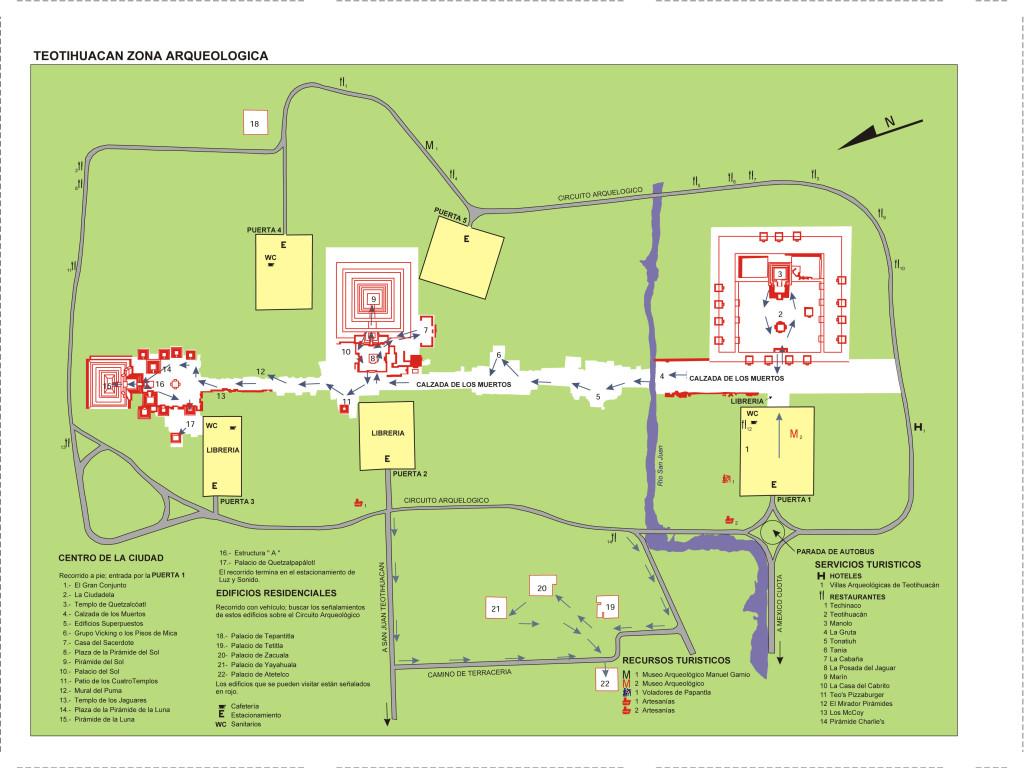 Mapa del yacimiento arqueológico de Teotihuacán.