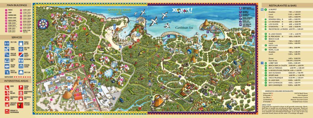 Mapa de las atracciones de Xcaret Riviera Maya