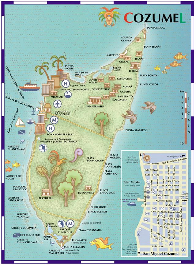 Mapa de la isla de Cozumel