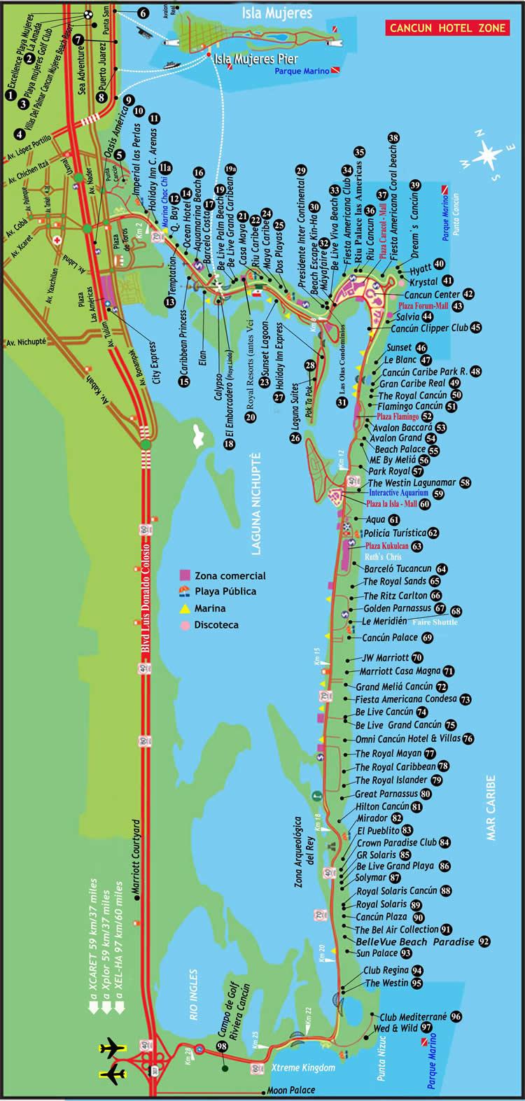 Mapa de Cancún con los hoteles en la franja de Costa