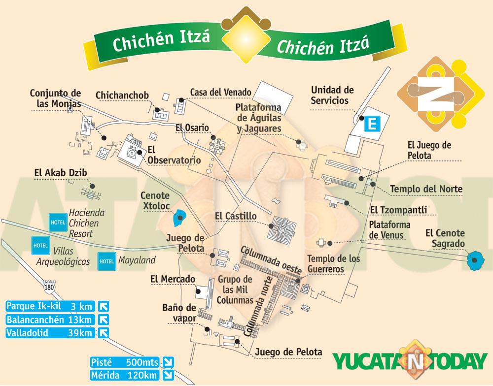 Mapa del yacimiento y templos de Chichén Itzá