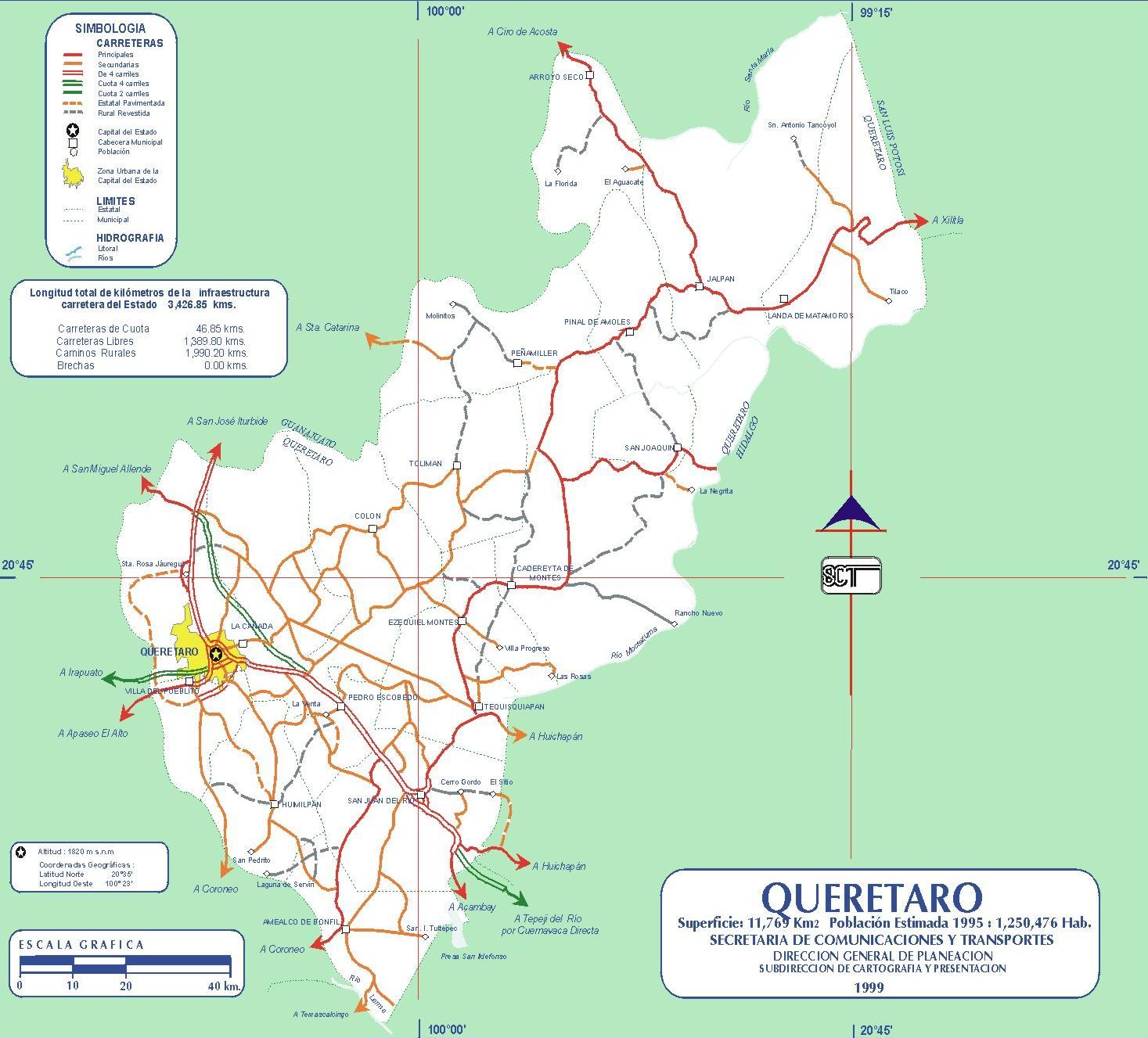 Mapa de carreteras del Estado de Querétaro