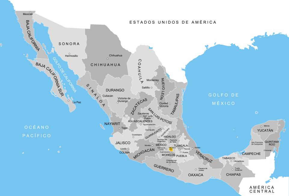Mapa político con los estados de México