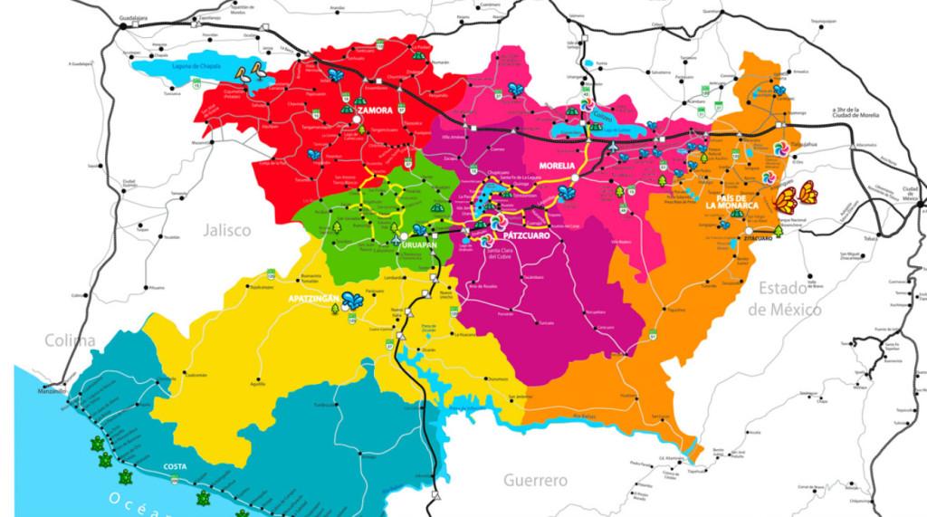Mapa del estado de Michoacan con sus regiones y puntos turísticos