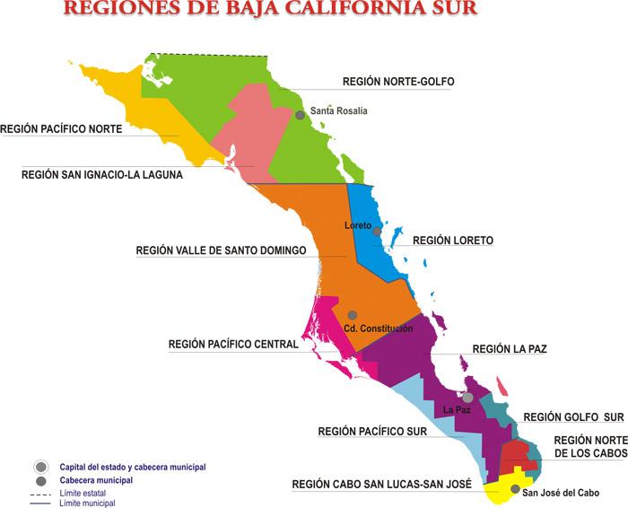 Mapa de regiones de Baja California Sur