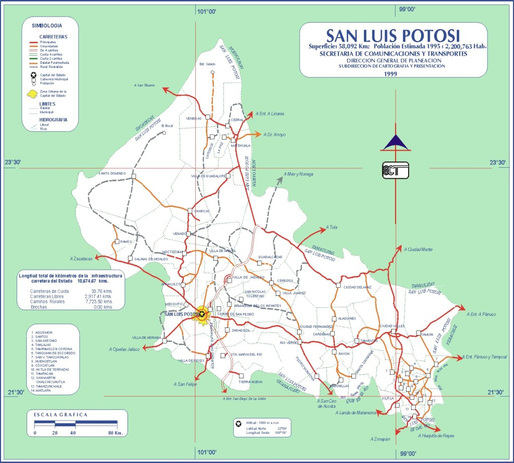 Mapa de carreteras del Estado de San Luis Potosí