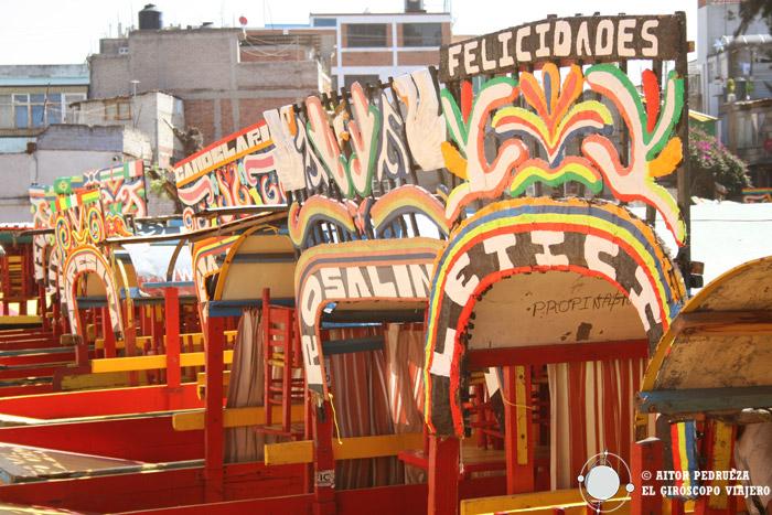 Trajineras de los canales de Xochimilco