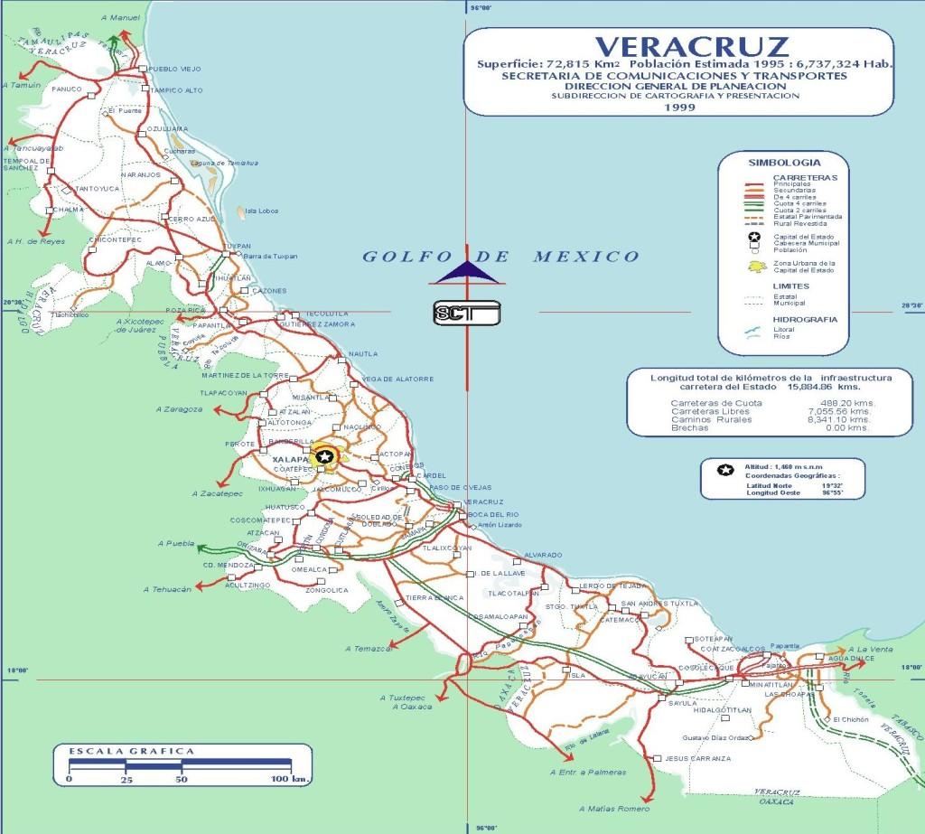 Mapa del Estado de Veracruz