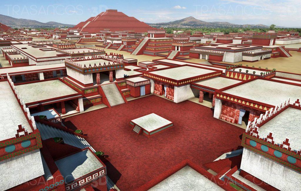 Reproducción de los palacios residenciales de Teotihuacán