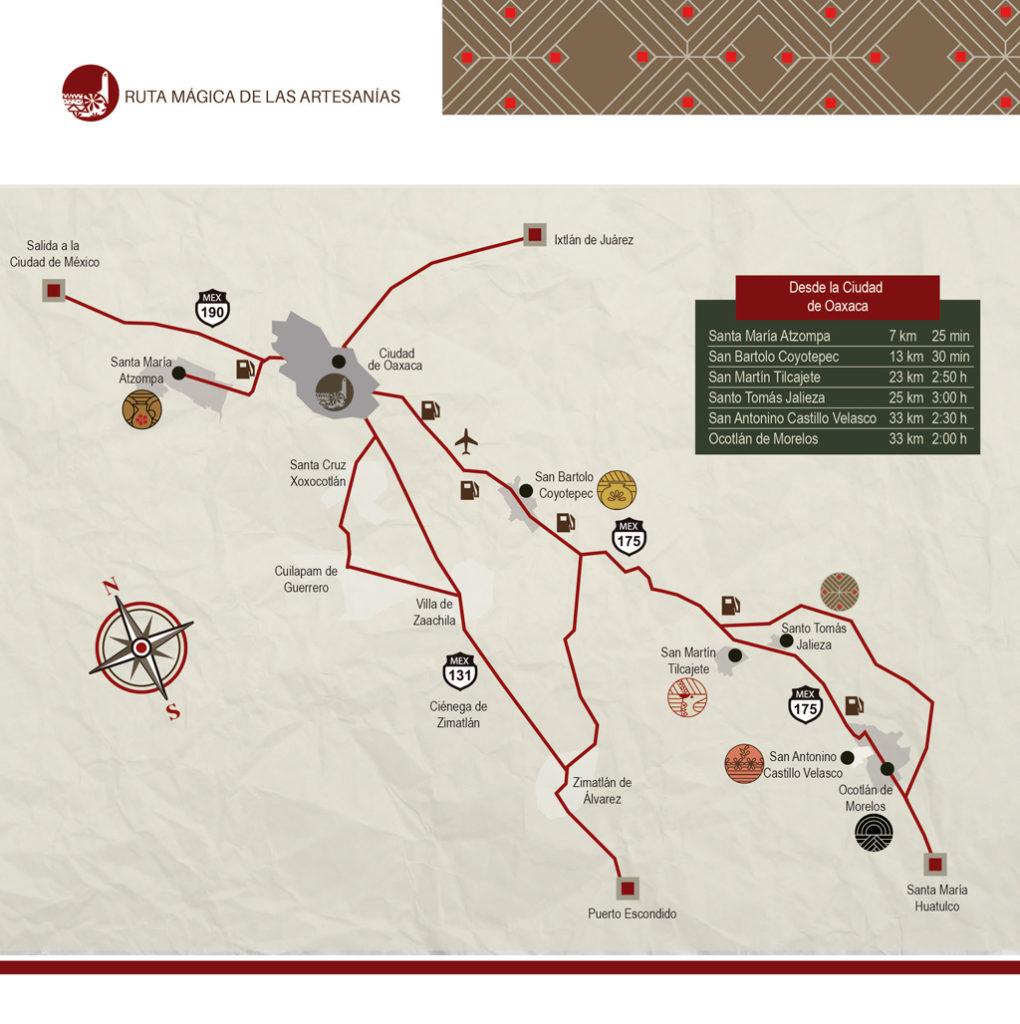 Mapa de las Rutas de las Artesanías del Estado de Oaxaca