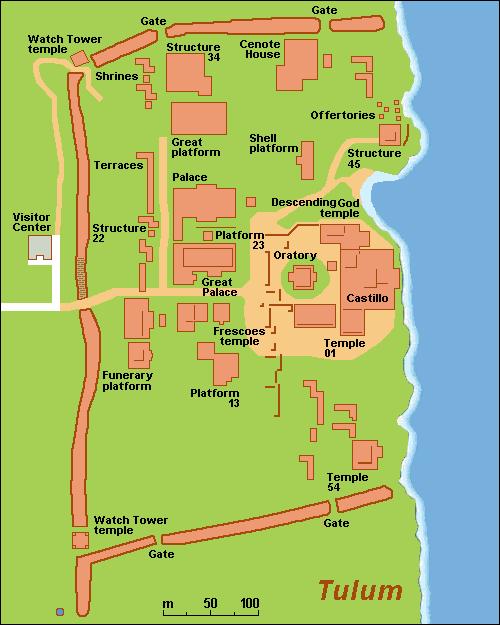 Mapa de las Ruinas Mayas de Tulum