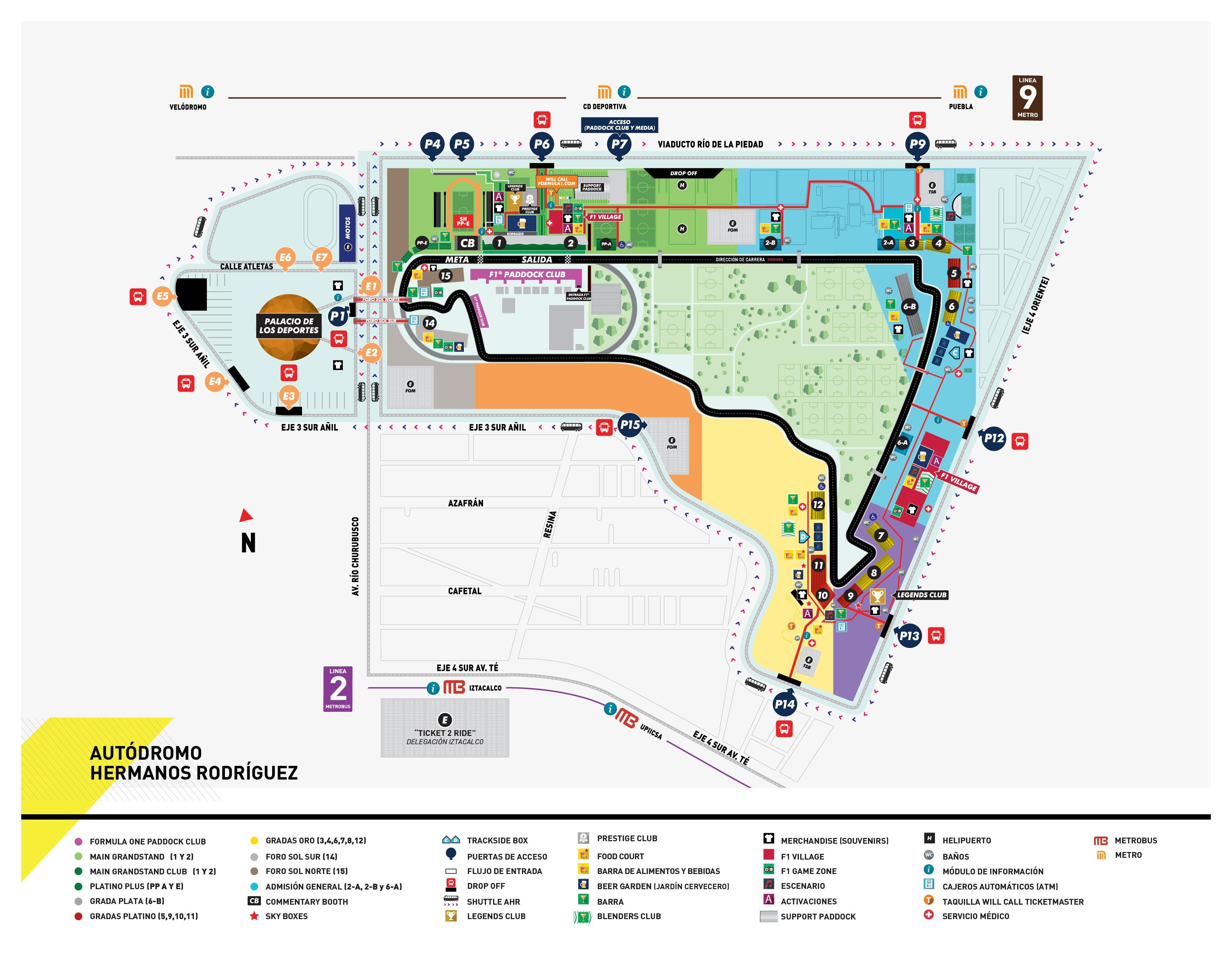 Mapa del circuito Autódromo Hermanos Rodríguez