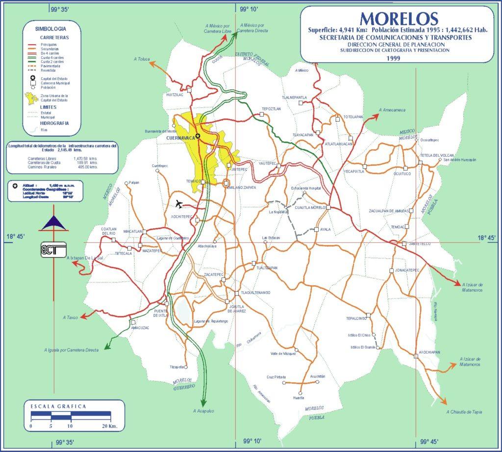 Mapa de carreteras del Estado de Morelos