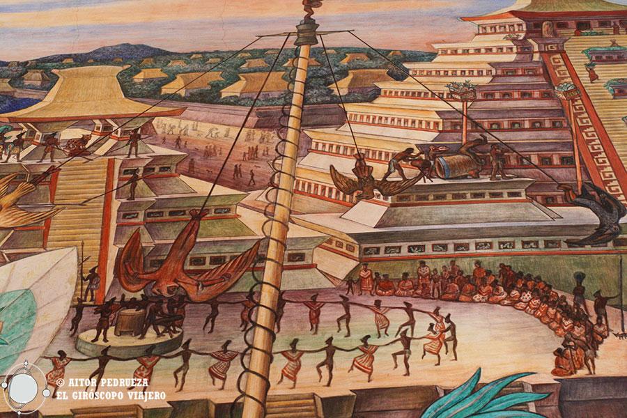 Mural con los voladores de Papantla