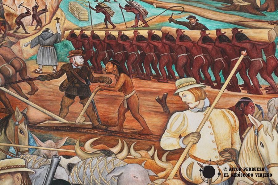 Mural representando la esclavitud