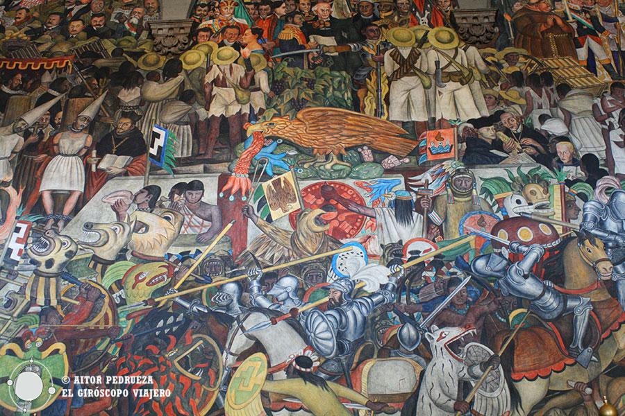 Fresco mural del Palacio Nacional mostrando la historia de México