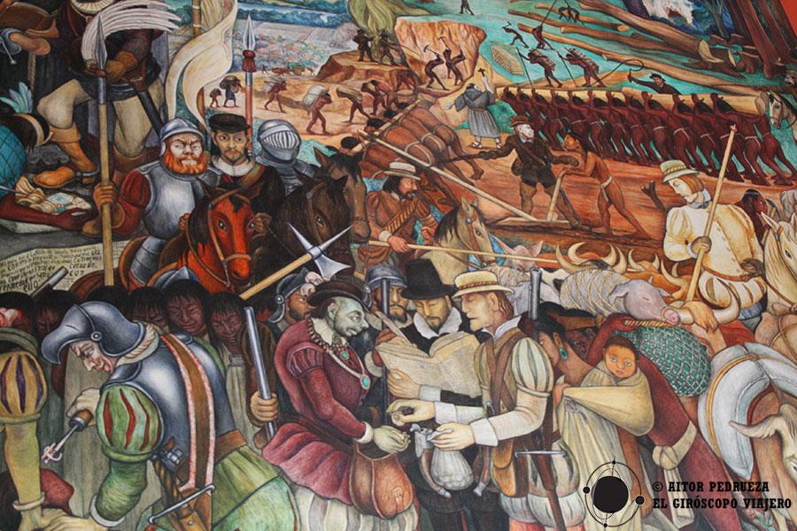 Mural con los conquistadores