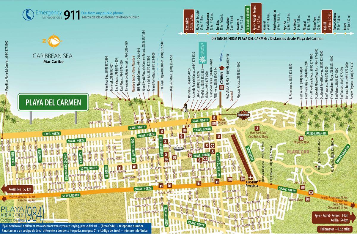 Mapa de la Quinta Avenida y las playas del centro de Playa del Cartmen