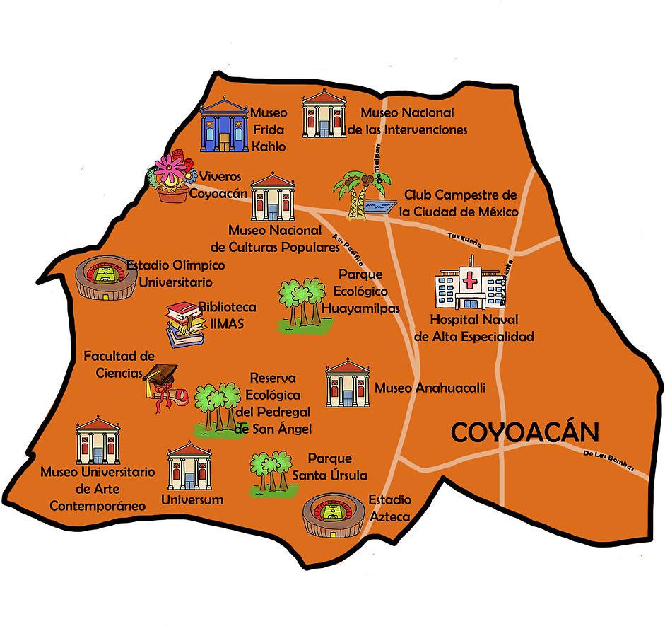 Mapa de los monumentos principales de la delegación de Coyoacán