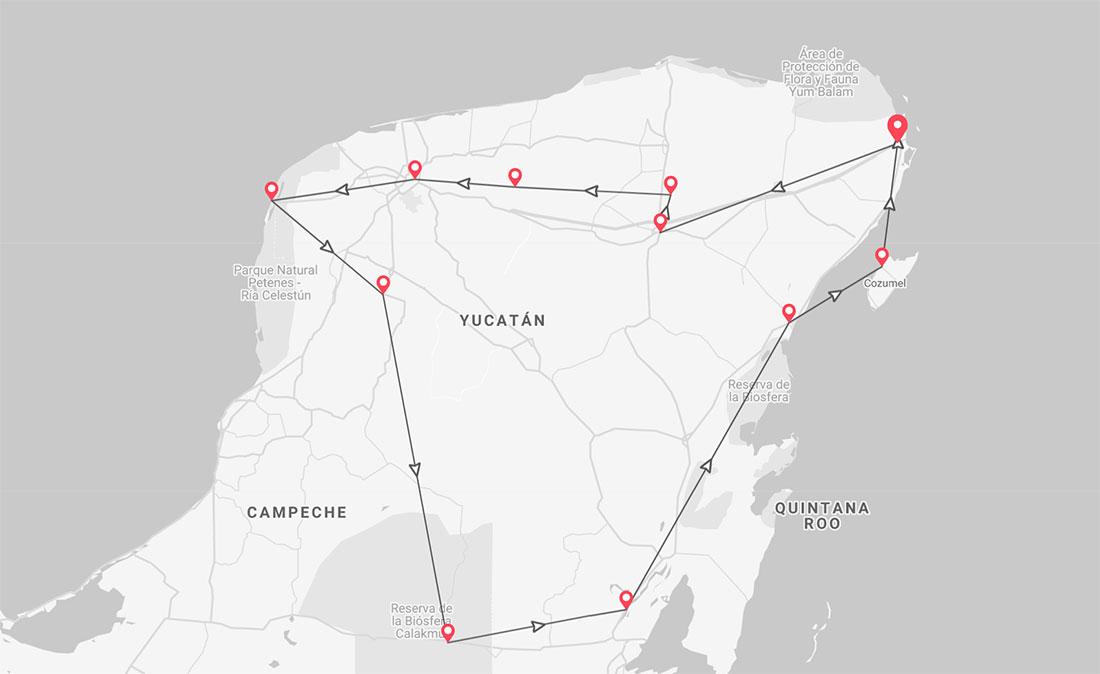 Ruta del viaje en grupo por Yucatán en México