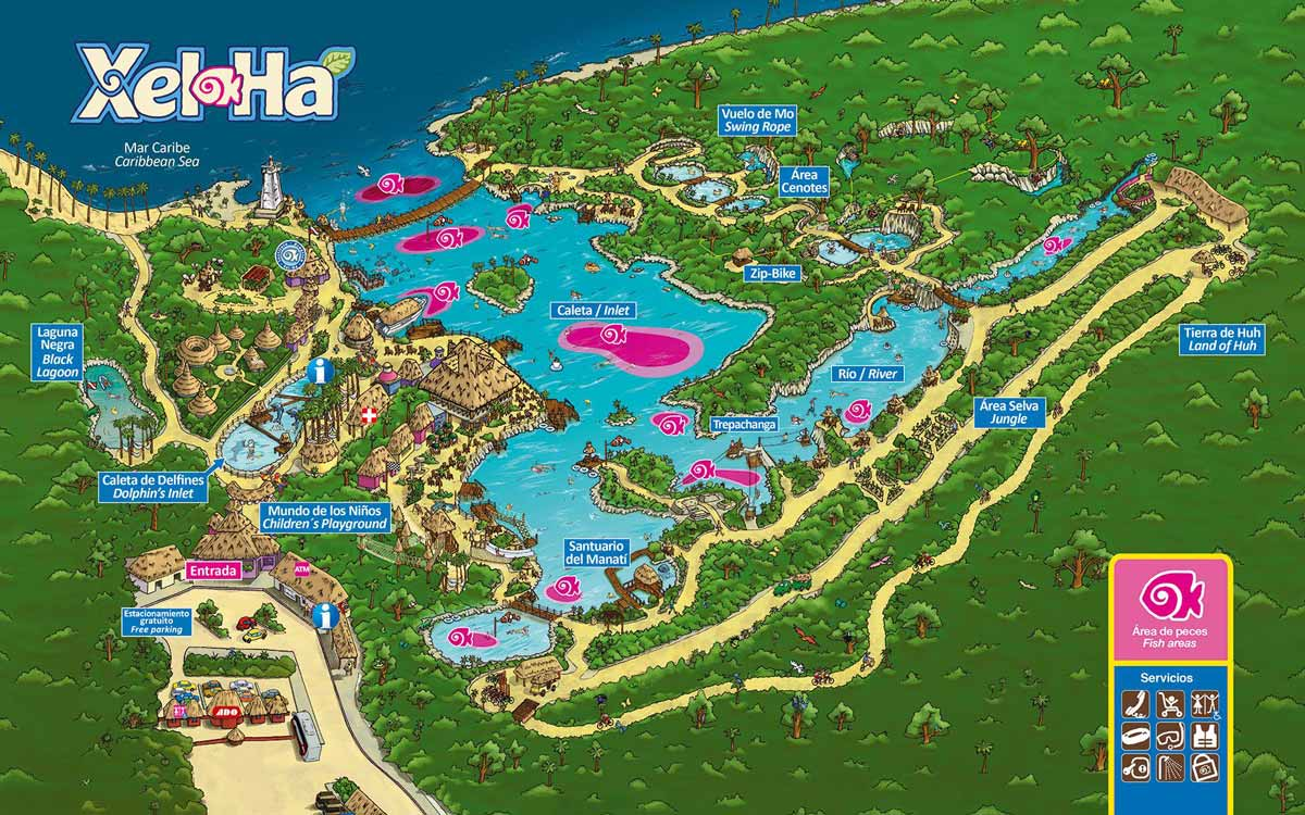 Mapa del parque ecoturístico de Xel-Ha en Riviera Maya. Haz click para descargarlo