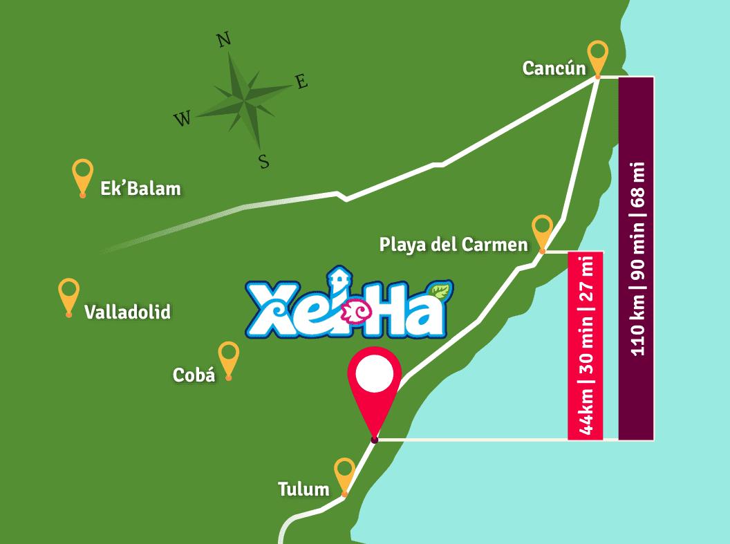 Mapa para llegar a Xel-Há. Distancias